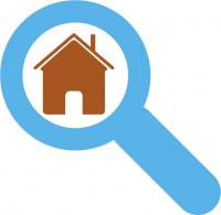 icons of magnifying glass with house