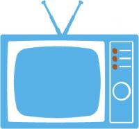 blue icon of a television
