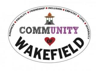 the words community and wakefield around a heart and Wakefield's bandstand