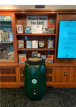 Rain barrel and display at Beebe Library