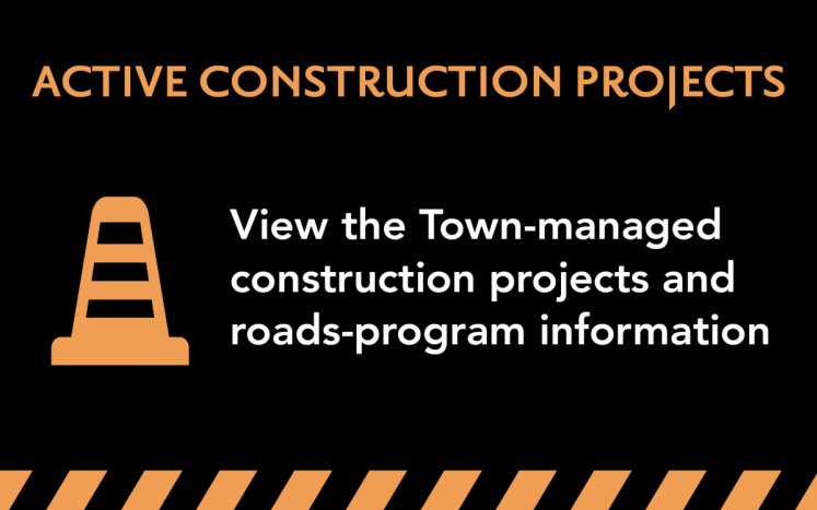 """orange traffic cone illustration with """"Active and Construction & Roads Program"""" text"""