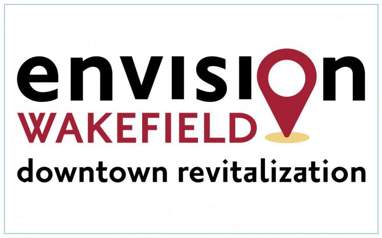 envision wakefield downtown revitalization text with map pin