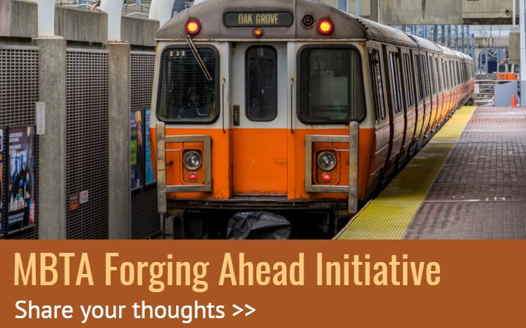 "Orange Line train with text: ""MBTA forging Ahead. Share yuur thoughts"""