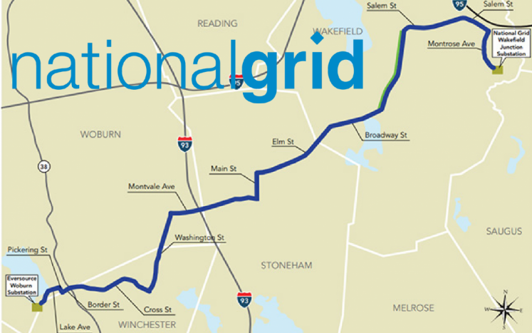 map with blue line showing transmission line through towns
