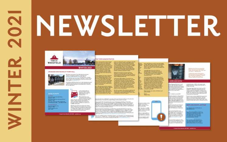newsletter text with thumbnail images of each of the four pages