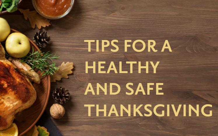 "text stating, ""Tips for a healthy and save Thanksgiving"" next to dinner setup"